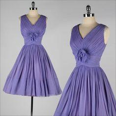 vintage 1960s dress . purple crepe chiffon . by millstreetvintage, $185.00