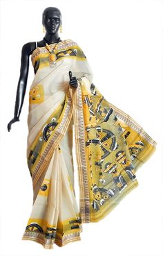 Hand Painted Off-White Tangail Saree with Border and Pallu (Cotton))