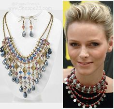 $39.00 | Blue Gold Statement Necklace Bib Bridesmaid Celebrity Inspired Jewelry New Boxed #Bib