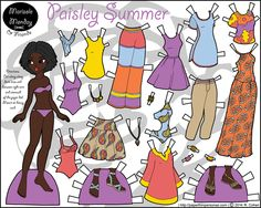Printable full color paper doll with summer beach clothing and lots of paisley.