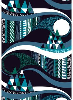 Taivasalla organic cotton fabric by Marimekko Geometric Patterns, Textures Patterns, Print Patterns, Graffiti Flowers, Ale, Northen Lights, Marimekko Fabric, Scandinavia Design, Design Textile