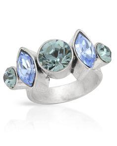DENMARK Blue /& White Flower Toe Ring in Metallic Base NEW PILGRIM SKANDERBORG
