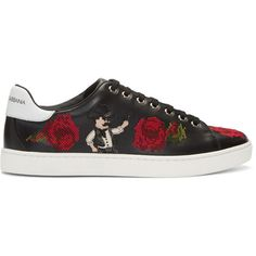 Dolce and Gabbana Black Cowboy and Roses Sneakers (5.320 BRL) ❤ liked on Polyvore featuring men's fashion, men's shoes, men's sneakers, black, mens leather shoes, mens western shoes, mens black leather shoes, mens leather lace up shoes and taryn rose mens shoes