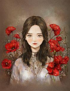 红罂粟花少女 ~来自韩国插画家Aeppol