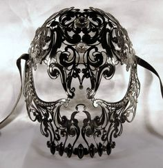 Skull venetian mask black in metal, luxury mask, http://www.etsy.com/shop/Cocone