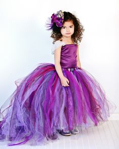 Purple Flower Girl Dress w Detachable Train--Tulle Skirt--Satin Top Two Piece by BellaBeanCouture on Etsy https://www.etsy.com/listing/84594335/purple-flower-girl-dress-w-detachable