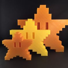 Available in a wide range of colors! Dont see the color you want? Let me know! (Pictured in Gold)  8bit Mario Star tree topper 3D printed, the perfect