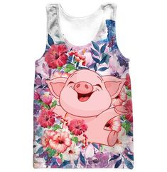 cec6bef83d50 Funny Cute Pig Smile 3D Flowers Graphic T-Shirt Zipper Hoodie Tank Top Shop  For Sale