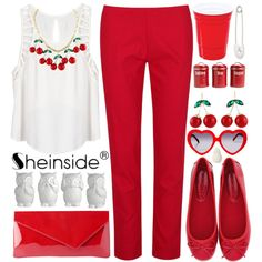 Red with Sheinside by allamess on Polyvore featuring Lush Clothing, Louche, Francesco Milano, L.K.Bennett, Kristin Cavallari, Typhoon and Zara Home