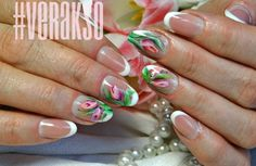 """Вкладной френч, форма """"Овал"""" и китайская роспись #nail #nails #nailart #Verakso"""