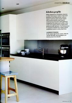 A feature on a sleek and beautiful kitchen from Laurence Pidgeon. http://laurencepidgeon.com/ Essential Kitchen Bathroom Bedroom March 2016