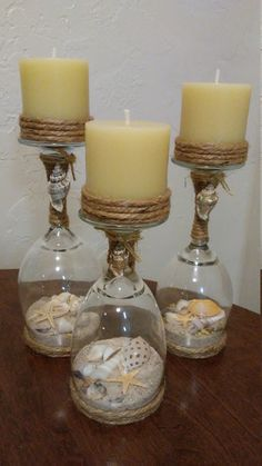 🐚Seashell wine glass candle holders🐚 by Prettybeachything Wine Glass Crafts, Wine Bottle Crafts, Mason Jar Crafts, Bottle Art, Diy Candles, Flameless Candles, Sand Candles, Shell Candles, Wine Glass Candle Holder