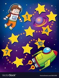Vector Illustration of Education Numbers game Astronaut to s… – Wall Products Kindergarten Drawing, Kindergarten Worksheets, Space Theme Classroom, Classroom Decor, Space Activities, Alphabet Activities, Math For Kids, Games For Kids, Preschool Learning