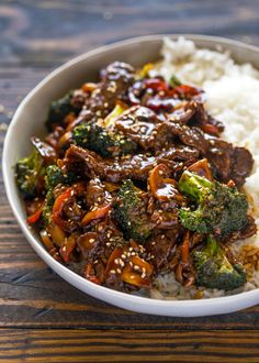 Quick 15 Minute Beef and Broccoli Stir Fry with Chuck Steaks Corn Starch Water Olive Oil Garlic Broccoli Florets Small Onion Bell Pepper Mushrooms Cooked Rice Reduced Sodium Soy Sauce Water Brown Sugar Ground Ginger Corn Starch. Chinese Beef And Broccoli, Easy Beef And Broccoli, Broccoli Recipes, Salmon Recipes, Asian Recipes, Garlic Broccoli, Beef Broccoli Stir Fry, Mushroom Broccoli, Beef Stir Fry Sauce