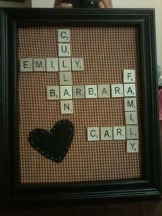 scrabble picture frame - cute, but my last name is too short and Bret's name wouldn't fit anywhere.
