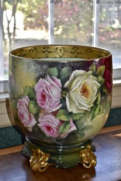 Limoges Breathtaking Jardiniere Covered in Dramatic Red, Yellow and Pink Flowers with Spectacular Gold and Black Etched Interior Rim and Matching Plinth
