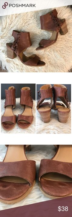 lucky Brand ankle sandals these were well loved as pictured , there are some flaws as pictured most of it from the natural wear of leather , there is a stain on the inside of one of them as pictured ,   please see pictures for size , and condition Lucky Brand Shoes Sandals