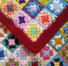 Bright crocheted granny blanket by ThePatchworkHeartUK on Etsy, £45.00