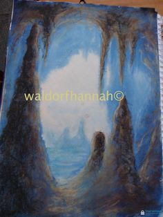 Waldorf ~ 6th grade ~ Geology & Mineralogy ~ Cave ~ stage 2 ~ pastels on top of painting