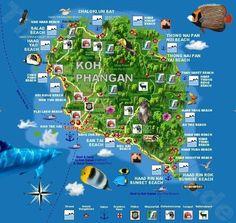 Phangan Karte: Strände auf Koh Phangan (Beach map)