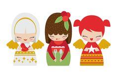 Momiji Doll, Kokeshi Dolls, Christmas Illustration, Cute Illustration, Christmas Love, Christmas Cards, Paper Dolls, Art Dolls, Clip Art