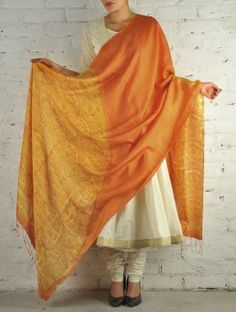 Orange Yellow Ombre Block Printed Silk Dupatta