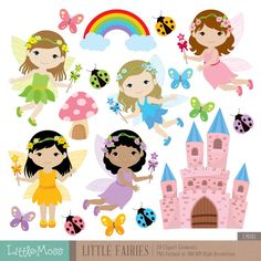 Little Fairies Digital Clipart by LittleMoss on Etsy Fairy Clipart, Flower Clipart, Conception Web, Picture Templates, Patch Aplique, Clip Art, Fairytale Art, Card Tags, Felt Animals