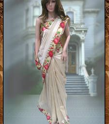 Buy Cream printed art silk saree with blouse below-1500 online