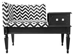 Black and white statement bench