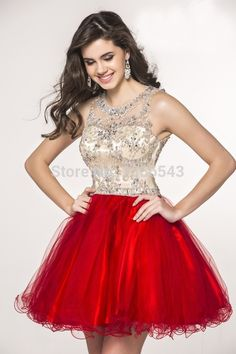 Cute A-Line Homecoming Party Dresses Beaded Crystal Stain with Tulle Sleeves Graduation Dresses 2016 Hot Sale