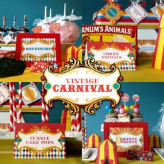 Love this vintage carnival idea for a kids party would be great to add performers on stilts to be part of this theme. Would love to plan one of the themed parties. Love it.