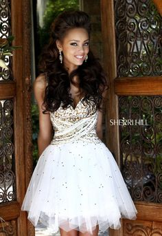 2013 Sherri Hill 21196 Lvory Gold Homecoming Dresses