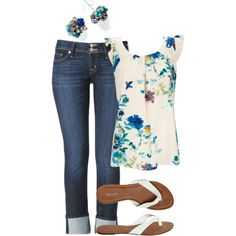 A fashion look from April 2013 featuring Wallis tops, Hudson Jeans jeans and Wet Seal flip flops. Browse and shop related looks.