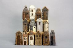 by Ellen Jamiolkowski Clay Houses, Ceramic Houses, Paper Houses, Miniature Houses, Brick Houses, Wooden Houses, Mini Houses, Wood Animals, Pottery Houses