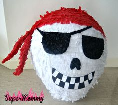 """Here is a step-by-step guide on how to make a pirate """"skull"""" pinata for your kid's pirate themed birthday party or Halloween party using paper-mache. Birthday Pinata, Pirate Birthday, Pirate Theme, Pirate Party, Diy Birthday, Pirate Kids, Pirate Halloween, Adult Halloween Party, Halloween Crafts"""
