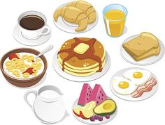 View top-quality illustrations of Breakfast Menu Coffee Croissant Pancake Cereal Milk Fruit Butter Syrup. Bento, American Breakfast, Salmon Eggs, Cereal Milk, Cute Food Art, Food Cartoon, Breakfast Menu, Food Illustrations, Croissant