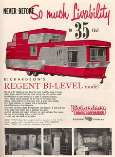Richardson Homes Regent Bi-Level mobile home ad Sure wish companies would build them with this kind of quality, looks and for a decent price now days. Oh look.it was built in the good ole USA; now days Made in USA is so rare to find. Vintage Campers Trailers, Retro Campers, Vintage Caravans, Camper Trailers, 2 Story Mobile Homes, Richardson Homes, Vintage Rv, Vintage Airstream, Vintage Clothing