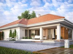 Find home projects from professionals for ideas & inspiration. AMBROZJA 7 by Biuro Projektów MTM Styl - domywstylu. Modern Bungalow House, Bungalow House Plans, Bedroom House Plans, Dream House Plans, Single Floor House Design, Small House Design, Residential Building Design, One Storey House, House Construction Plan