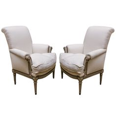 Pair of Louis XVI Bergeres | From a unique collection of antique and modern bergere chairs at http://www.1stdibs.com/seating/bergere-chairs/