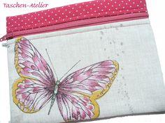 Universaltäschchen - Mäppchen mit Schmetterling und Pünktchen - ein Designerstück von CreativeArtDesign bei DaWanda