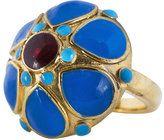 Isharya Clustered Enamel Flower Ring Isharya, Gemstone Rings, Enamel, Turquoise, Gemstones, Flower, Jewelry, Vitreous Enamel, Jewlery