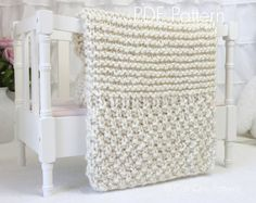 This is for BEGINNER Knitters! PDF PATTERN of how to make the Buttercream Blanket. NOT A PHYSICAL BLANKET FOR SALE. ♥ Beginner Knitting blanket pattern for a super simple, yet classy and creamy soft blanket. Pattern makes a baby blanket and also a larger sofa throw blanket. It will