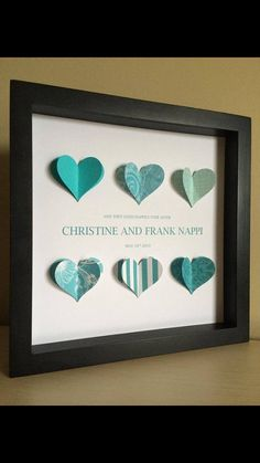 Personalized Wedding Gift, 3D Paper Heart, for wedding or anniversary, customize with wedding colors