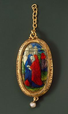 Paternoster Pendant with the Meeting of Joachim and Anna at the Golden Gate (reverse) - Burgundy ca 1440-50.  Jewellery, precious metals & precious stones