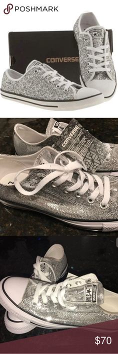 Converse Silver Glitter Sequin All Star Sneakers 8 Super cute Converse Silver Glitter Sequin All Star Ox 135851C Rare Women's Converse Low Top Sneakers. Size 8-Womens Size 6-Mens. These shoes can be unisex. Brand new in box and new with tags. The box has a rip on the side (see pictures). Converse Shoes Sneakers