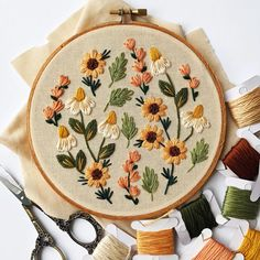 Summer Wildflowers Embroidery Kit DIY embroidery DIY home decor craft kit flower embroidery floral embroidery pattern Embroidery Floral Embroidery Patterns, Couture Embroidery, Embroidery Hoop Art, Hand Embroidery Designs, Vintage Embroidery, Hungarian Embroidery, Embroidery Stitches, Diy Embroidery Shoes, Diy Embroidery Flowers