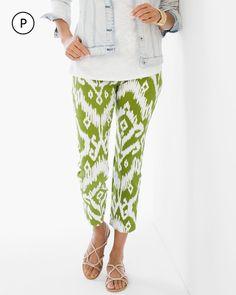 Chico's Women's So Slimming Petite Brigitte Ikat Palm Spring Crop Pant