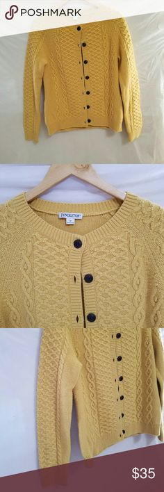 Price drop Pendleton Cable Knit Wool Cardi Hurry and grab this beautiful yellow pendleton in excellent condition! Lighter mustard yellow. 80% lambs wool. 20% nylon. About 19 inches armpit to armpit. About 23 inches long. No stains, holes or pilling. Crew neck, buttons all the way up. Pendleton Sweaters Cardigans