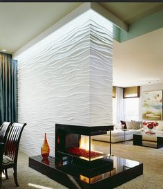 Unique 3-sided Fireplace #fireplace #design #fireplaces http://homechanneltv.com/