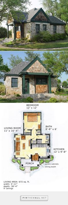 House Plan 56580 add a second bedroom and more storage Tyni House, Tiny House Living, Small House Plans, House Floor Plans, Cabins And Cottages, Tiny House Design, House Layouts, Little Houses, Architecture